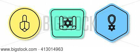Set Line Hanukkah Dreidel, Torah Scroll And Star Of David Necklace On Chain. Colored Shapes. Vector