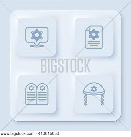 Set Line Star Of David, Torah Scroll, Tombstone With Star David And Jewish Kippah. White Square Butt