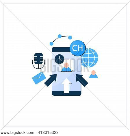 Rapid Popularity Flat Icon. Rapid Growth User Popularity.arrows Point To Moderator. Communication Co