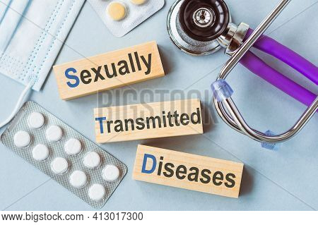 Std - Sexually Transmitted Diseases, Words On Wooden Blocks. Medical Concept.