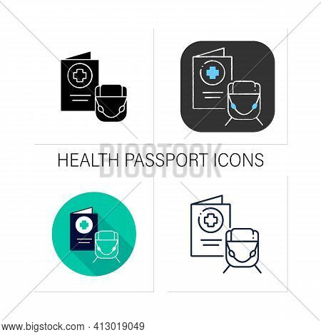 Health Passport Icons Set. Necessary Document About Health Status For Travel. Vaccinated Card.surely
