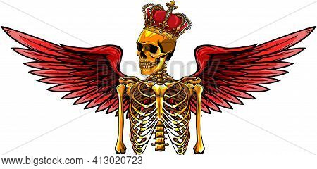 Vector Angel Skeleton With Wing And Crown