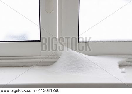 Snow Drifts At Home During A Blizzard On A Winter Day. Snowdrifts After The Heavy Snow Storm