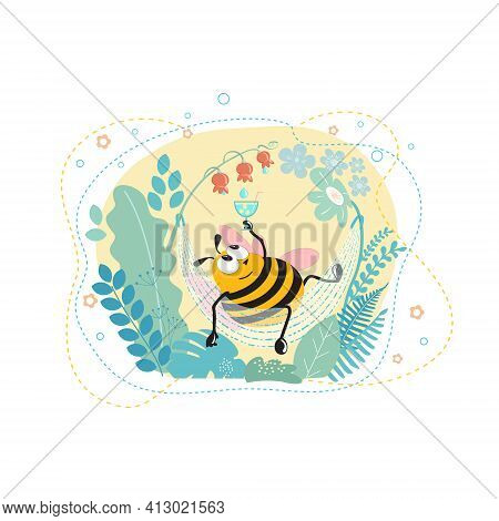 Cartoon Character Happy Bumblebee In A Hammock, Drinking Nectar From A Glass Through A Straw. Vector