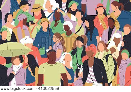 Crowd Of Different Multinational Multicultural People. Social Diversity Illustration.