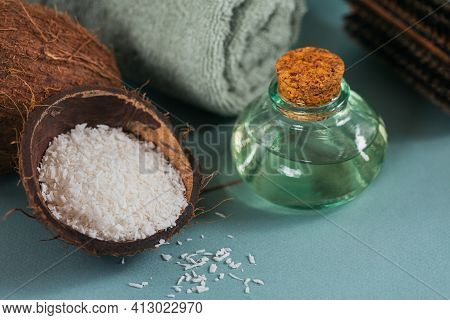 Composition With Natural Organic Coconut Oil Cosmetic Body Cream On Light Blue Color Background. Nat