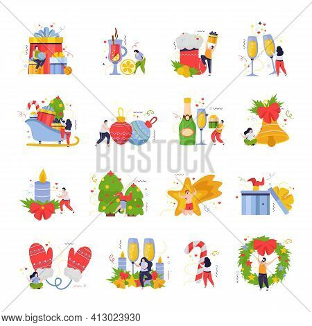 Merry Christmas And Happy New Year Set Of Flat Isolated Icons With People Gifts And Drinks Vector Il