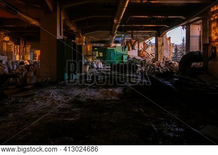 Ruined Factory Interior. Consequences Of Disaster, War Or Demolition