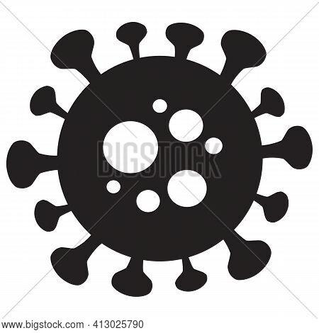 Covid-19 Silhouette Vector Symbol. Flat Coronavirus Graphic Isolated On White Background.