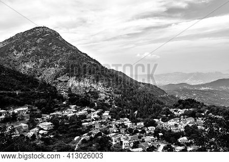 City Syvros On The Mountainside On The Island Of Lefkada In Greece, Monochrome