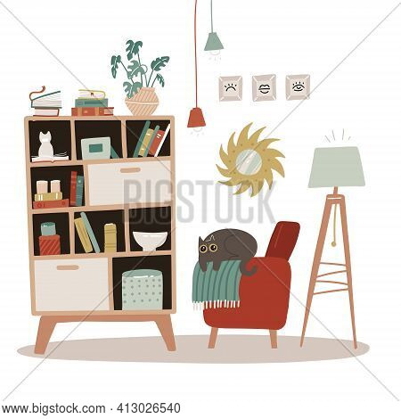 Interior Of A Living Room With Bookcase. Isolated Concept Of Home Furniture For Reading - Bookshelve