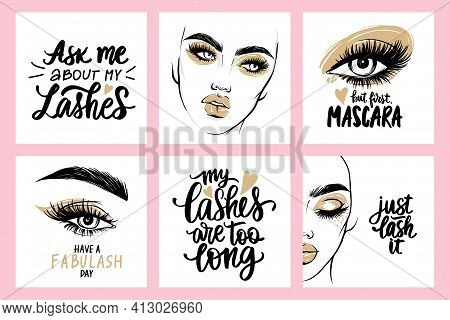 Fashion Posters With Female Portraits, Quotes About Lashes And Mascara. Woman With Long Eyelashes.