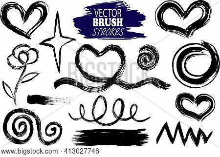 Vector Image Set Of Hand-drawn And Scanned Ink Blobs, Spots, Different Lines, Flowers, Hearts, Edita