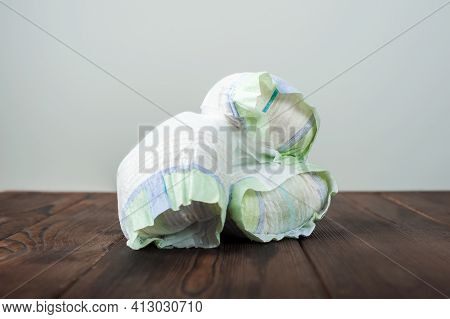 Diapers Waste, Dirty Diapers. Disposing Of Used Baby Nappies. Environmental Impact Of Disposable Dia