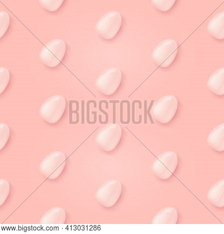 Vector Soft Pastel Pink Seamless Background With Flat Lay Eggs. Happy Easter Seamless Wrapping Paper