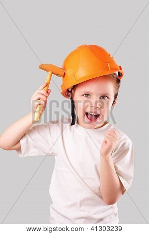 Attractive Little Builder Girl