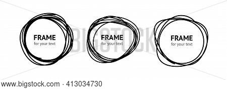 Hand Drawn Circle Frame Vector Isolated On White
