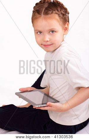 Happy Little Girl With Ipad