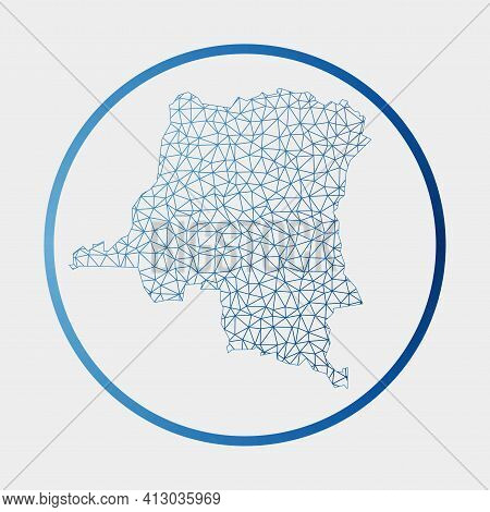 Dr Congo Icon. Network Map Of The Country. Round Dr Congo Sign With Gradient Ring. Technology, Inter