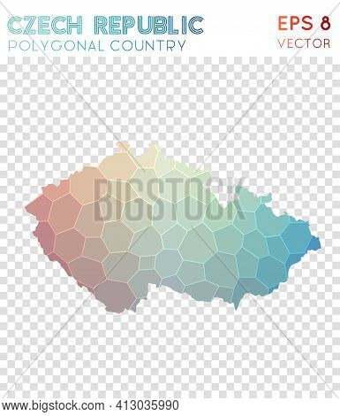 Czech Republic Polygonal, Mosaic Style Country Map. Excellent Low Poly Style, Modern Design For Info
