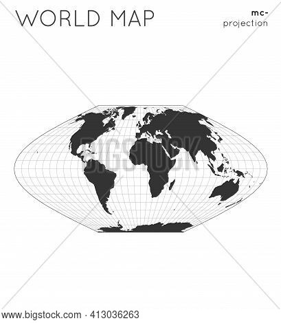 World Map. Globe In Mcbryde-thomas Flat-polar Sinusoidal Projection, With Graticule Lines Style. Mod