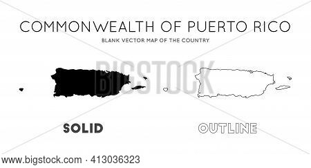 Puerto Rico Map. Blank Vector Map Of The Country. Borders Of Puerto Rico For Your Infographic. Vecto