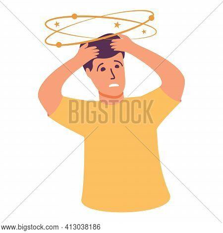 Man Character Dizziness.man Feeling Vertigo. Person Suffering From Head Ache.