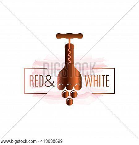 Wine Bottle Watercolor Logo. Corkscrew With Wine