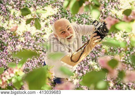 Old Happy Man Looking Upwards At Tree. Senior Man Holding Professional Camera. Education For Elderly