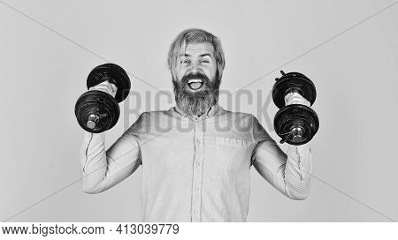 Stronger Every Day. Sport Lifestyle. Sport Motivation. Handsome Guy Workout. Exercising At Gym. Musc