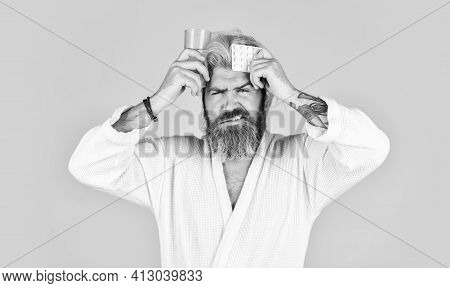 Feeling Himself Bad. Healthcare Take Medication. Bearded Man On Sick Leave. Healthcare Of Man Taking