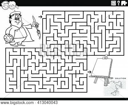 Black And White Cartoon Illustration Of Educational Maze Puzzle Game For Children With Painter And E