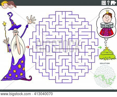 Cartoon Illustration Of Educational Maze Puzzle Game For Children With Wizard And The Frog Prince