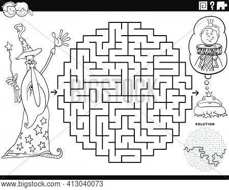 Black And White Cartoon Illustration Of Educational Maze Puzzle Game For Children With Wizard And Th