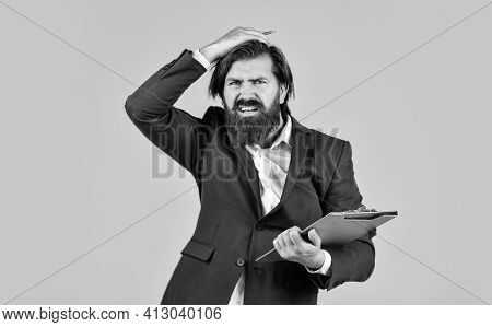 Too Much Work. Business Process Specialist With Folder. Businessman Hold Office Documents. Skilled C
