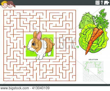 Cartoon Illustration Of Educational Maze Puzzle Game For Children With Rabbit Animal Character With