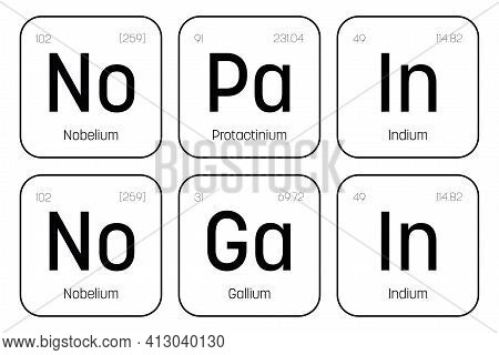 No Pain No Gain Quote Of Chemical Element Signs. Funny Vector Inscription