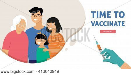 Asian Family Vaccination Concept Design. Time To Vaccinate Banner - Syringe With Vaccine For Covid-1