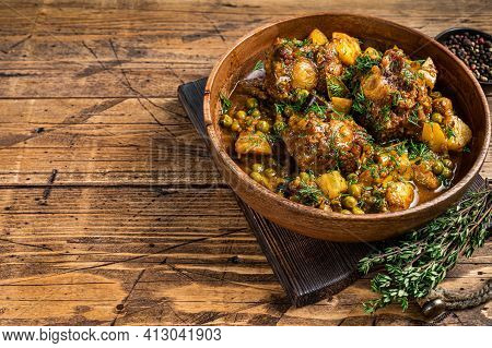 Veal Beef Oxtails Tails Stew With Vegetables In A Wooden Plate. Wooden Background. Top View. Copy Sp