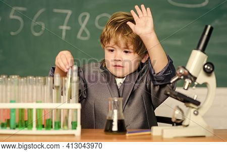 Kid Study Biology And Chemistry In School. School Education. Explore Biological Molecules. Toddler G