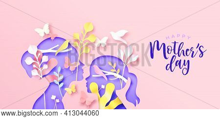 Happy Mother's Day Paper Cut Greeting Card Of Mom With Child Daughter And Colorful Spring Nature. Mo