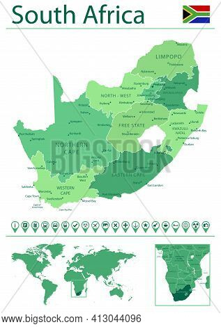 South Africa Detailed Map And Flag. South Africa On World Map.