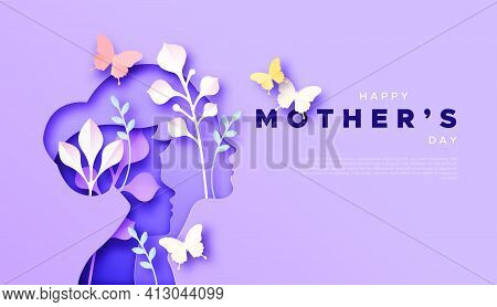 Happy Mother's Day Paper Cut Card Template Background Of Mom With Child Son And Colorful Spring Natu