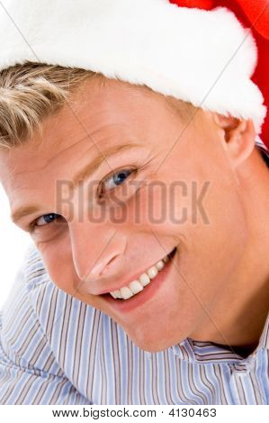 Happy Man With Christmas Hat