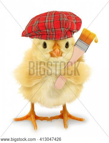 Cute cool chick painter with red hat and painting brush funny conceptual image