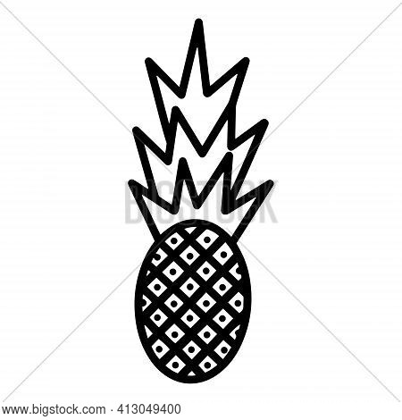 Pineapple Vector Icon. Isolated Fruit On A White Background. Black Silhouette Of A Stylized Pineappl