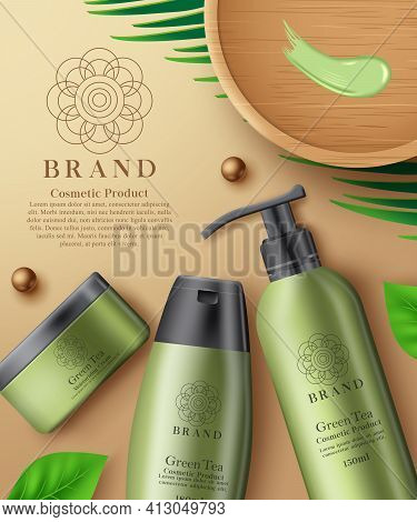 Cosmetic Green Tea Product Vector Template Design. Cosmetic Moisturizing Cream And Lotion Mock Up Pr