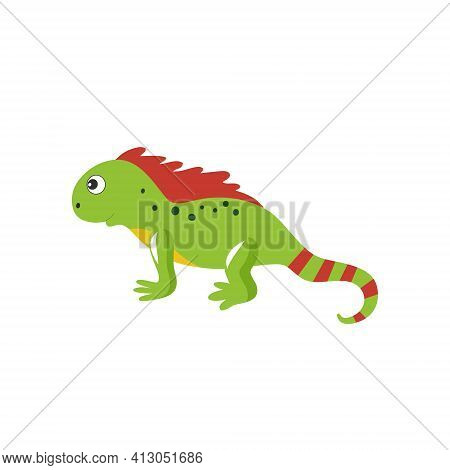Iguana Lizard Isolated On A White Background. Children's Cartoon Vector Illustration For Alphabet Wi