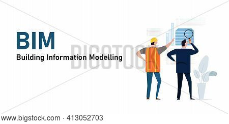 Bim Building Information Modelling Architect Wearing Helmet Design Reviewing Meeting Construction So