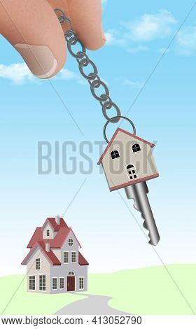 Fingers Hold A Keychain With A Key Shaped Like A House. A Home Is Seen In The Background. This 3-d I
